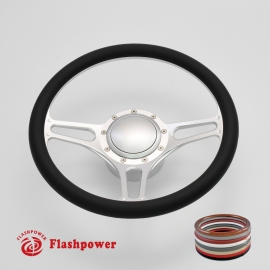 """Troika 14"""" Satin Billet Steering Wheel Kit Half Wrap with Horn Button and Adapter"""