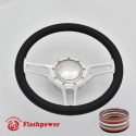 "Troika 14"" Polished Billet Steering Wheel Kit Full Wrap with Horn Button and Adapter"