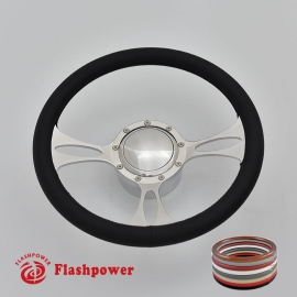 """Vectra 14"""" Polished Billet Steering Wheel Kit Full Wrap with Horn Button and Adapter"""