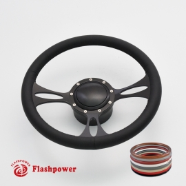 """Vectra 14"""" Black Billet Steering Wheel Kit Full Wrap with Horn Button and Adapter"""