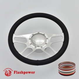 """Trickster 14"""" Polished Billet Steering Wheel Kit Full Wrap with Horn Button and Adapter"""