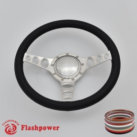 "Cruisin 14"" Polished Billet Steering Wheel with Full Wrap and Horn Button"