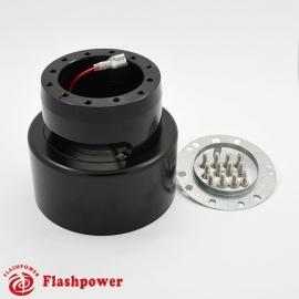 6064B  Flashpower 6 Bolt Steering Wheel Hub Adapter For Tilt Telescopic Buick Cadillac De Ville Oldsmobile 84-89 Black