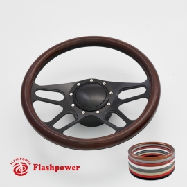 """Trickster 14"""" Black Billet Steering Wheel Kit Full Wrap with Horn Button and Adapter"""