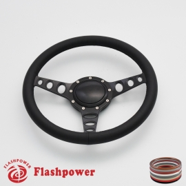 "Cruisin 14"" Black Billet Steering Wheel with Full Leather Wrap and Horn Button"