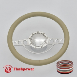 """Good Times 14"""" Polished Billet Steering Wheel Kit Full Wrap with Horn Button and Adapter"""