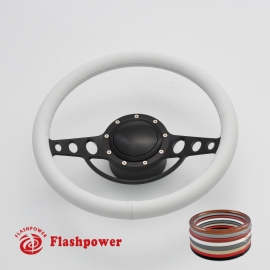 """Good Times 14"""" Black Billet Steering Wheel Kit Full Wrap with Horn Button and Adapter"""