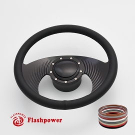 """Hawk 14"""" Black Billet Steering Wheel Kit Full Wrap with Horn Button and Adapter"""
