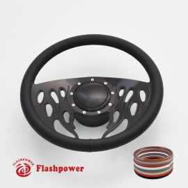 "Flames 14"" Black Billet Steering Wheel Kit Full Wrap with Horn Button and Adapter"