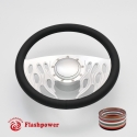 "Flames 14"" Satin Billet Steering Wheel Kit Full Wrap with Horn Button and Adapter"