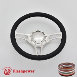 "Troika 14"" Polished Billet Steering Wheel with Full Wrap and Horn Button"