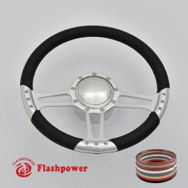 "Trinity 14"" Polished Billet Steering Wheel Kit Full Wrap with Horn Button and Adapter"