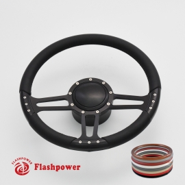 """Trinity 14"""" Black Billet Steering Wheel Kit Full Wrap with Horn Button and Adapter"""
