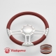 """Trinity 14"""" Satin Billet Steering Wheel Kit Full Wrap with Horn Button and Adapter"""