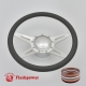 """Racer 14"""" Polished Billet Steering Wheel Kit Half Wrap with Horn Button and Adapter"""