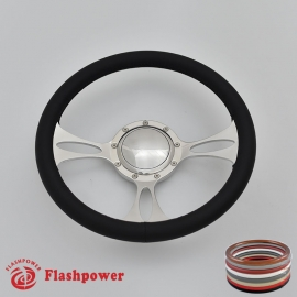 """Vectra 14"""" Polished Billet Steering Wheel with Full Wrap and Horn Button"""