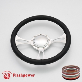 """Vectra 14"""" Satin Billet Steering Wheel with Full Wrap and Horn Button"""