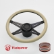 """Racer VI 14"""" Black Billet Steering Wheel Kit Half Wrap with Horn Button and Adapter"""