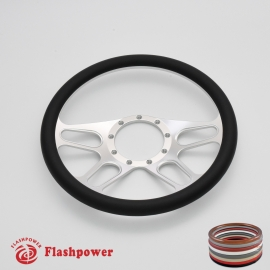 "Trickster 14"" Satin Billet Steering Wheel with Half Wrap Rim"