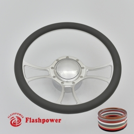 "Viral 14"" Polished Billet Steering Wheel Kit Half Wrap with Horn Button and Adapter"