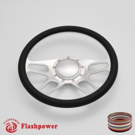 """Trickster 14"""" Satin Billet Steering Wheel with Half Wrap and Horn Button"""