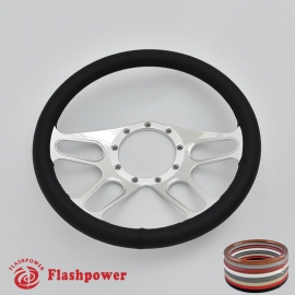 """Trickster 14"""" Polished Billet Steering Wheel with Full Wrap"""