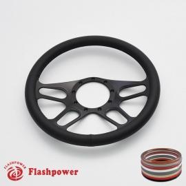"Trickster 14"" Black Billet Steering Wheel with Full Wrap"