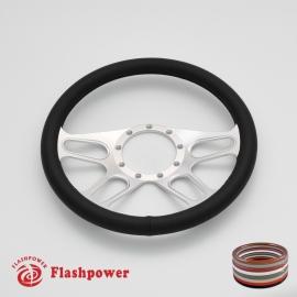 "Trickster 14"" Satin Billet Steering Wheel with Full Wrap"