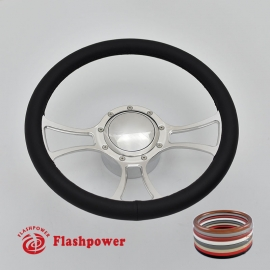 "Viral 14"" Polished Billet Steering Wheel Kit Full Wrap with Horn Button and Adapter"