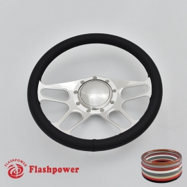 """Trickster 14"""" Polished Billet Steering Wheel with Full Wrap and Horn Button"""