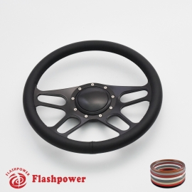 "Trickster 14"" Black Billet Steering Wheel with Full Wrap and Horn Button"