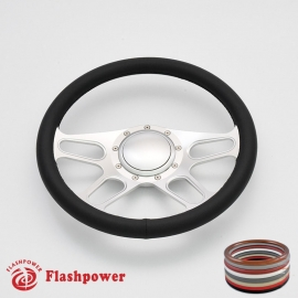 """Trickster 14"""" Satin Billet Steering Wheel with Full Wrap and Horn Button"""