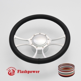 "Viral 14"" Satin Billet Steering Wheel Kit Full Wrap with Horn Button and Adapter"