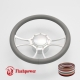 """Viral 14"""" Satin Billet Steering Wheel Kit Full Wrap with Horn Button and Adapter"""