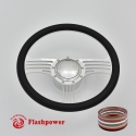 """Zephyr 14"""" Polished Billet Steering Wheel Kit Half Wrap with Horn Button and Adapter"""