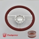 """Zephyr 14"""" Polished Billet Steering Wheel Kit Full Wrap with Horn Button and Adapter"""