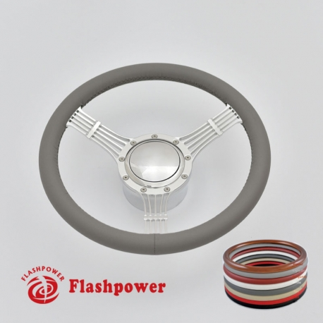 """5-String Banjo 15.5"""" Polished Billet Steering Wheel Kit Full Wrap with Horn Button and Adapter"""