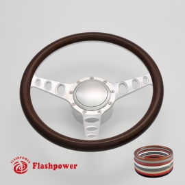 "Cruisin 15.5"" Satin Billet Steering Wheel Kit Half Wrap with Horn Button and Adapter"