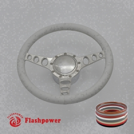 """Cruisin 15.5"""" Polished Billet Steering Wheel Kit Full Wrap with Horn Button and Adapter"""