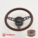 """Cruisin 15.5"""" Black Billet Steering Wheel Kit Full Wrap with Horn Button and Adapter"""