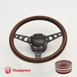 "Cruisin 15.5"" Black Billet Steering Wheel Kit Full Wrap with Horn Button and Adapter"