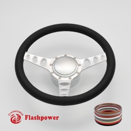 "Cruisin 15.5"" Satin Billet Steering Wheel Kit Full Wrap with Horn Button and Adapter"