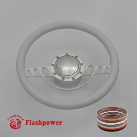 "Good Times 15.5"" Polished Billet Steering Wheel Kit Full Wrap with Horn Button and Adapter"