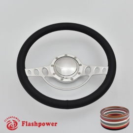 "Good Times 14"" Polished Billet Steering Wheel with Full Wrap and Horn Button"