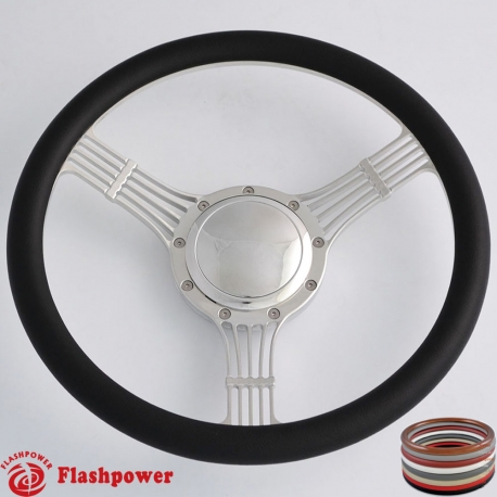 """14"""" Billet Steering Wheel half wrap leather rim Bungundy with horn button"""