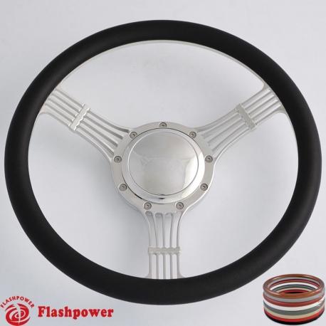 "5-string Banjo 14"" Billet Steering Wheel half wrap with horn button"