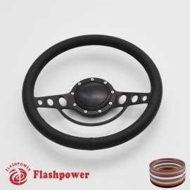 "Good Times 14"" Black Billet Steering Wheel with Full Wrap and Horn Button"