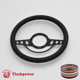 "Good Times 14"" Black Billet Steering Wheel with Full Wrap"