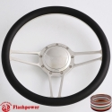 "Tridon 14"" Polished Billet Steering Wheel with Half Wrap and Horn Button"