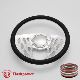 "Flames 14"" Satin Billet Steering Wheel with Half Wrap and Horn Button"
